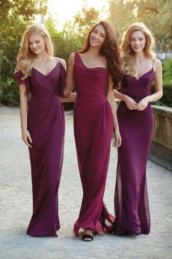 purpurowe suknie dla druhny