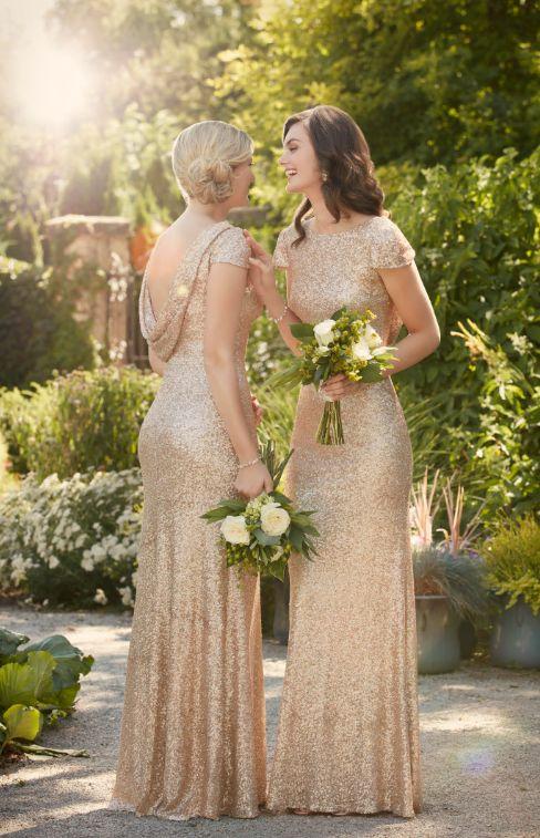 złoty kolor suknki dla druhny