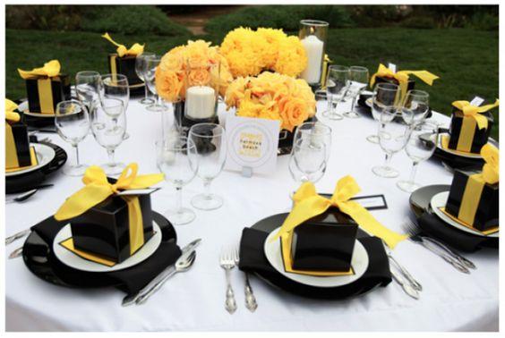 Żółte dodatki na wesele