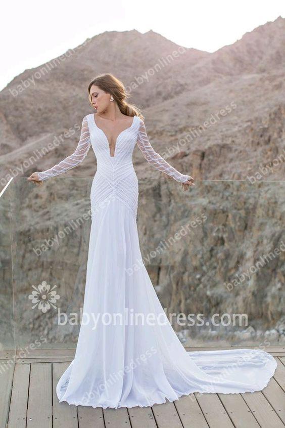 suknia ślubna Krój rybki i długi rękaw