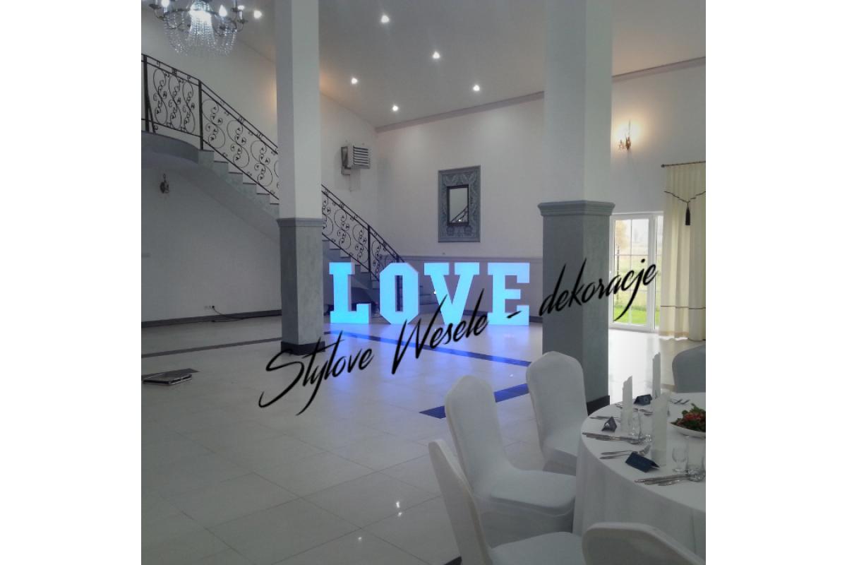 Napisy LOVE MIŁOŚĆ dekoracja sal weselnych