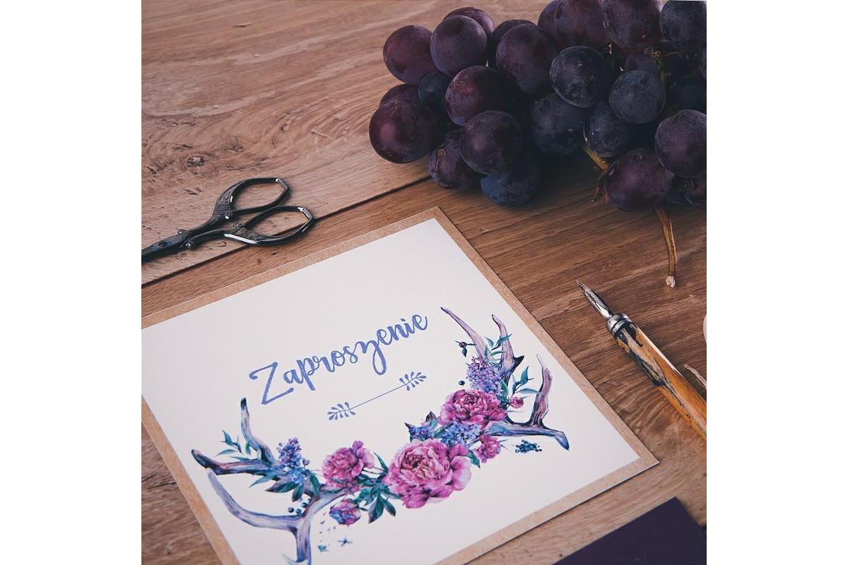 Zaproszenie ślubne kolekcja Kwiaty Boho od SklepSlubny.LOVE