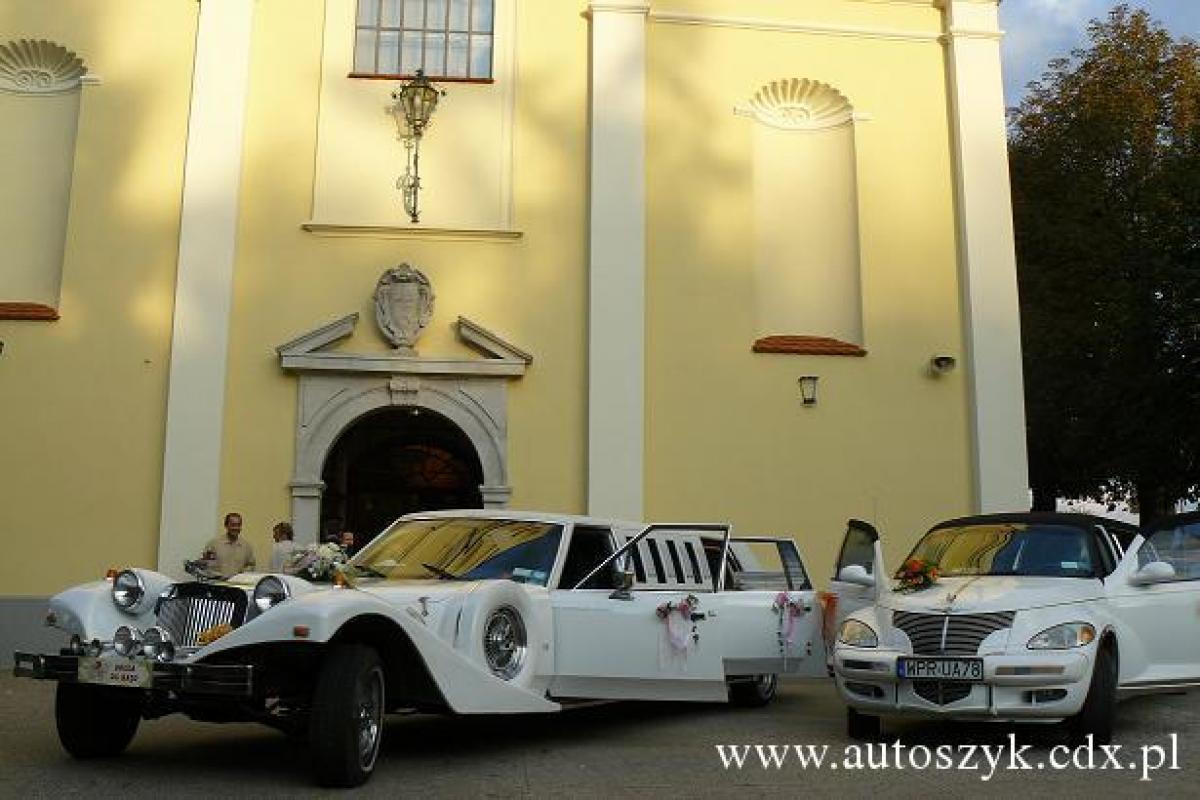 Samochody stylowe do ślubu,białe limuzyny,exkalibur,chrysler pt ceuiser.