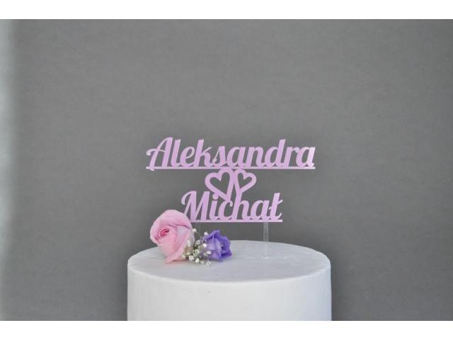 Spersonalizowana dekoracja na tort weselny - imiona na tort, cake topper