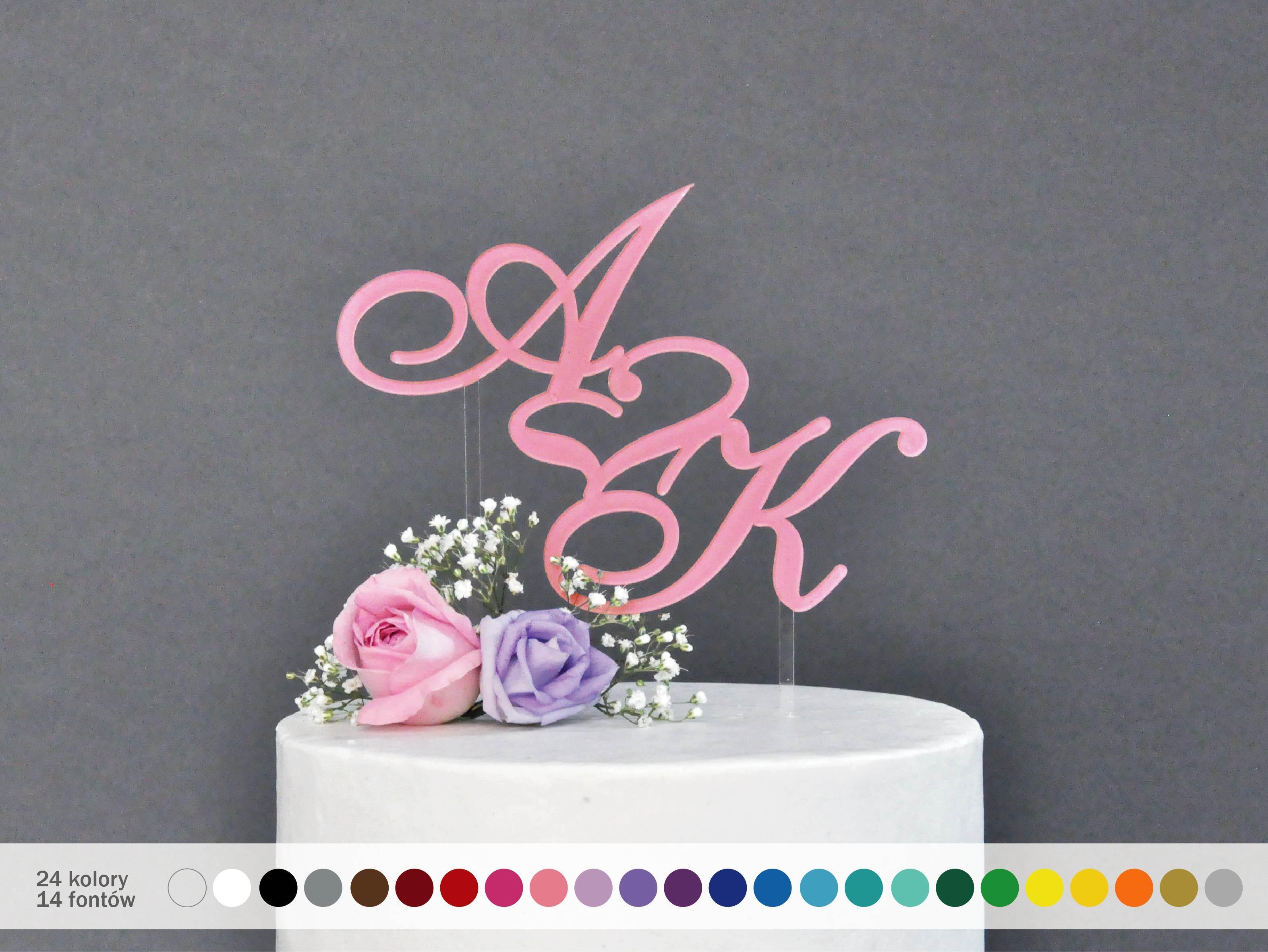 Spersonalizowana Dekoracja Na Tort Weselny Inicjały Na Tort Cake
