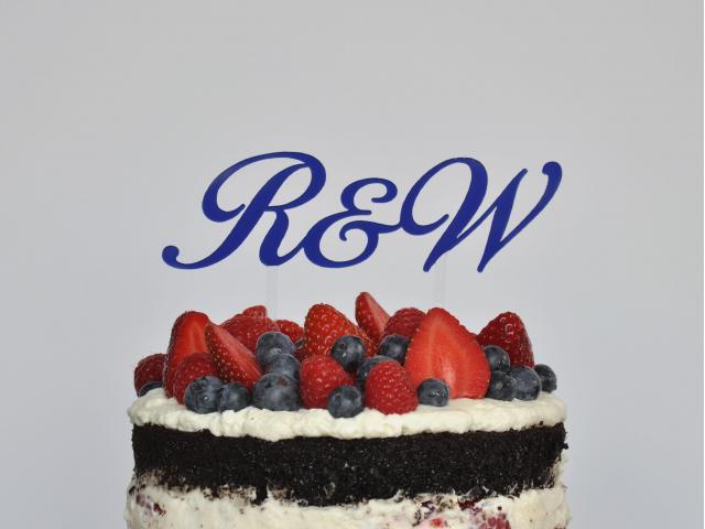 Spersonalizowana dekoracja na tort weselny - inicjały na tort, cake topper