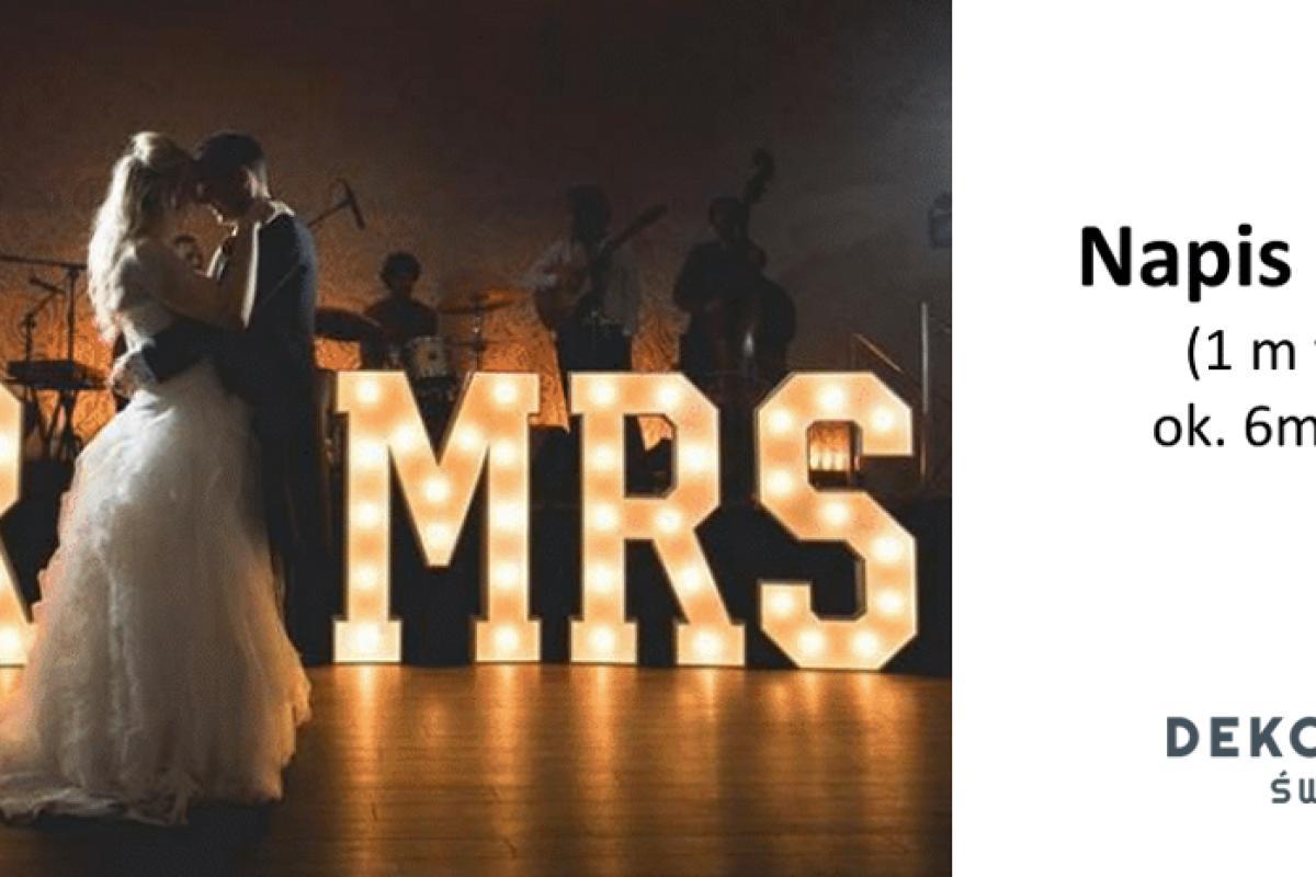 DEKORUJEMY ŚWIATŁEM - NAPIS MR&MRS