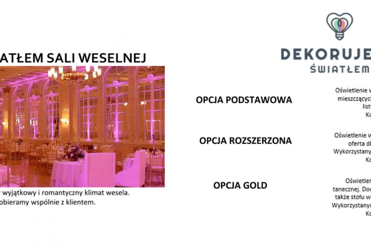 DEKORUJEMY ŚWIATŁEM - Dekoracja sali weselnej