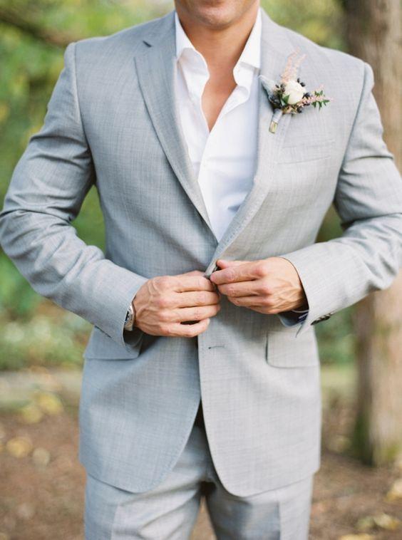 szary garnitur ślubny
