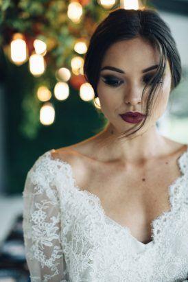 ciemny makijaż ślubny