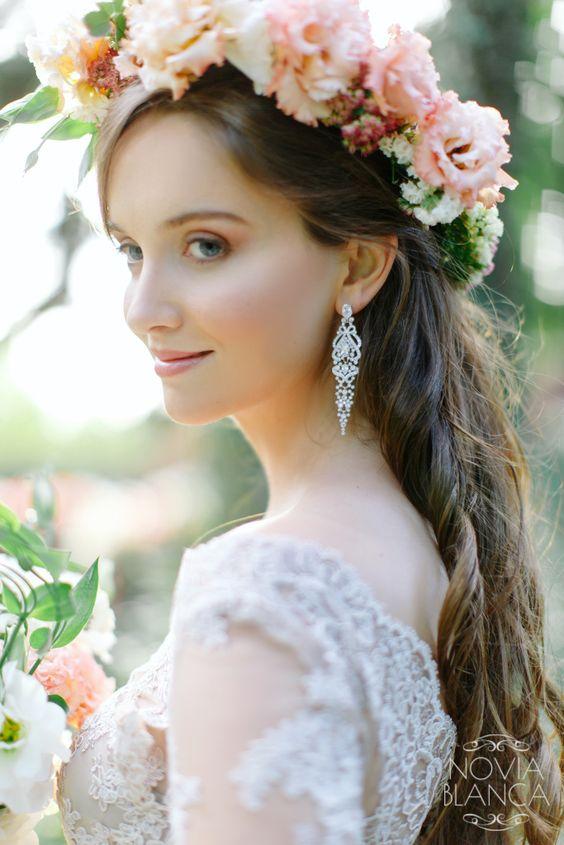 Różowy wianek ślubny