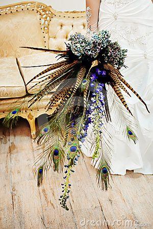 Pawie pióra dodatek do bukietu ślubnego