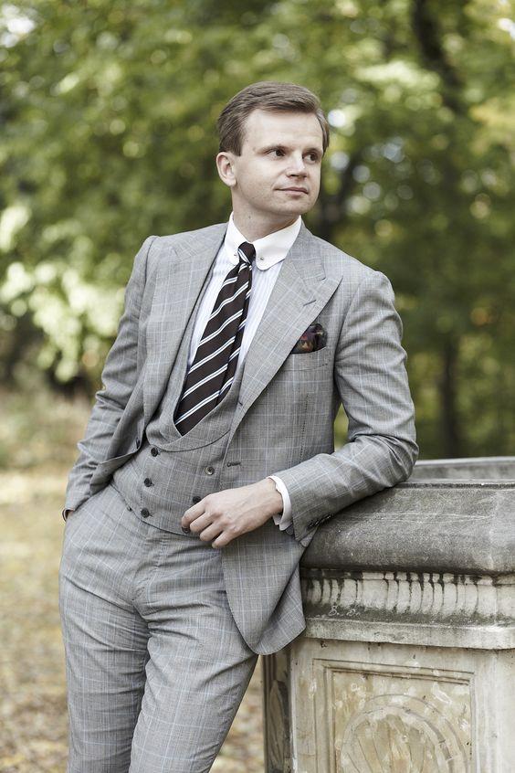 garnitur ślubny w kratę